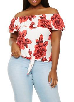 Plus Size Floral Off the Shoulder Top - 0912074015205