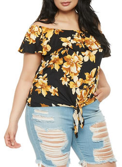Plus Size Floral Off the Shoulder Top - 0912074015205