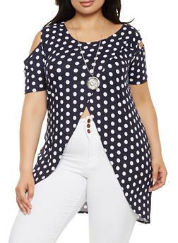Plus Size Polka Dot Cold Shoulder Top - 0912074015218