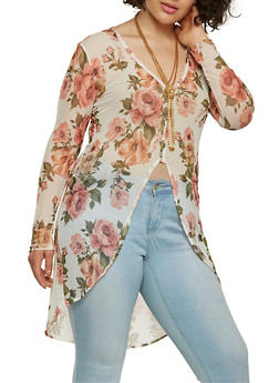 Plus Size Floral Mesh High Low Top - 0912074015304