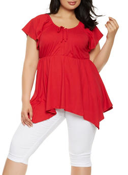 Plus Size Drawstring Detail Top - 0912074015360