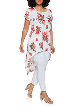 Plus Size High Low Floral Top - 0912074015792