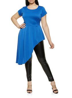 Plus Size Scuba Knit Asymmetrical Top - 0912074015794