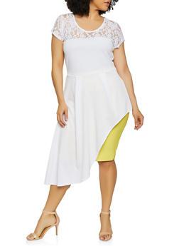 Plus Size Lace Yoke Asymmetrical Top - 0912074015795
