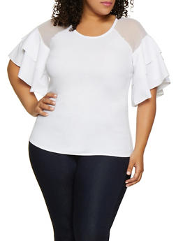 Plus Size Tiered Sleeve Mesh Insert Top - 0912074015798