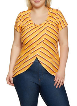 Plus Size Striped Tulip Hem Top - 0912074015799