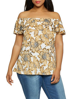 Plus Size Off the Shoulder Floral Top | 0912074017931 - 0912074017931