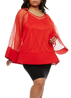 Plus Size Wire Mesh Hem Top - 0912074280301