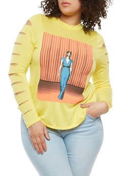 Plus Size Slashed Sleeve Graphic Tee - 0912074280315