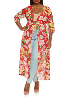 Plus Size Sheer Floral Maxi Top - 0912074280354