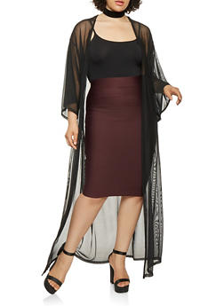 Plus Size Wide Sleeve Mesh Duster - 0912074280381