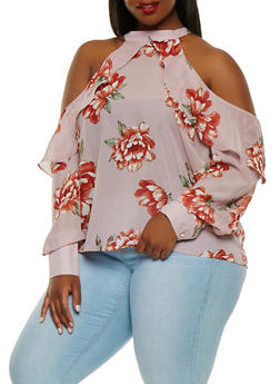 Plus Size Floral Cold Shoulder Top - 0912074280382