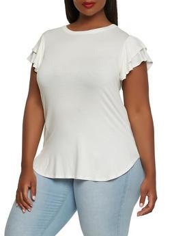 Plus Size Tiered Sleeve Tee - 0912074280456