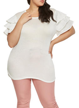 Plus Size Tiered Sleeve Tee - 0912074280458