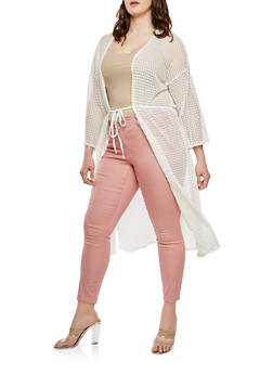 Plus Size Crochet Open Front Duster - OATMEAL - 0912074280461