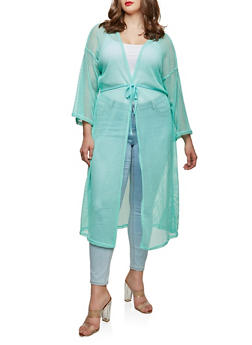 Plus Size Crochet Open Front Duster - MINT - 0912074280461