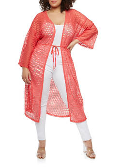 Plus Size Crochet Open Front Duster - PINK - 0912074280461