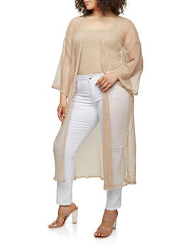 Plus Size Crochet Open Front Duster - PEACH - 0912074280461