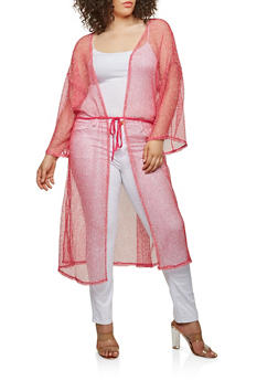 Plus Size Crochet Open Front Duster - FUCHSIA - 0912074280461