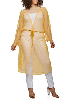 Plus Size Crochet Open Front Duster - MUSTARD - 0912074280461