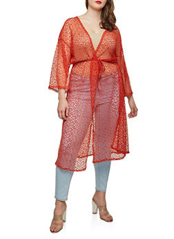 Plus Size Crochet Open Front Duster - 0912074280461