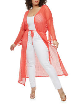 Plus Size Crochet Open Front Duster - CORAL - 0912074280461