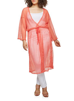 Plus Size Crochet Open Front Duster - NEON PINK - 0912074280461