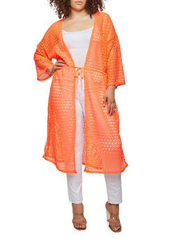 Plus Size Crochet Open Front Duster - NEON ORANGE - 0912074280461
