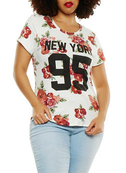 Plus Size Floral Graphic Tee - 0912074280584