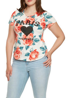 Plus Size Floral Graphic Tee - 0912074280586