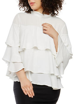 Plus Size Tiered Bell Sleeve Blouse - 0912074280700