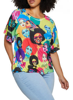 Plus Size Multi Color Afro Girl Print Top - 0912074281239