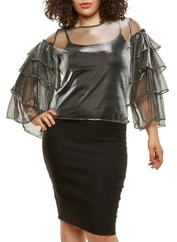 Plus Size Shimmer Knit Mesh Top - 0912074281300