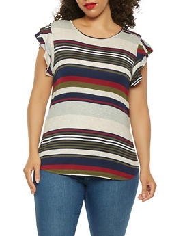 Plus Size Striped Tiered Sleeve Tee - 0912074283001