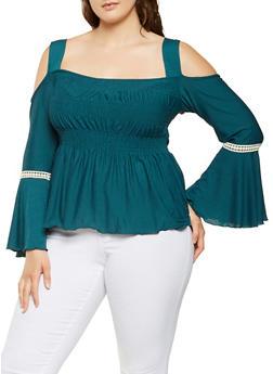 Plus Size Smocked Cold Shoulder Top - 0912074283002