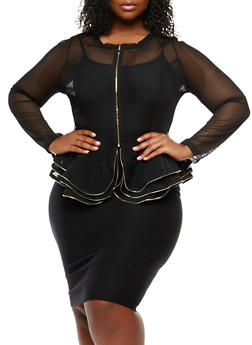 Plus Size Ruffled Mesh Peplum Jacket - 0912074283294