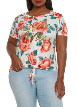 Plus Size Graphic Soft Knit Tee - 0912074284008
