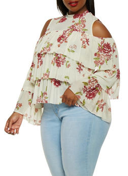 Plus Size Tiered Mesh Cold Shoulder Top - 0912074284010