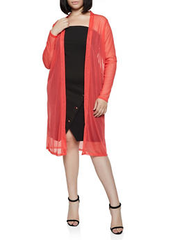 Plus Size Open Front Long Sleeve Mesh Duster - 0912074284305