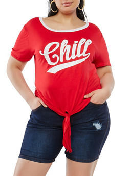 Plus Size Chill Graphic Tie Front Tee - 0912074285580