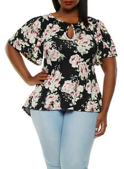 Plus Size Floral Tiered Sleeve Top - 0912074285916