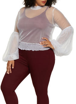 Plus Size Bell Sleeve Mesh Top - 0912074286116