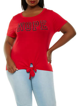 Plus Size Nope Graphic Tee - 0912074287122