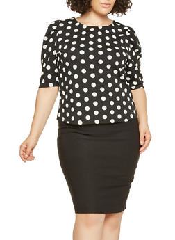 Plus Size Polka Dot Blouse - 0912074287147