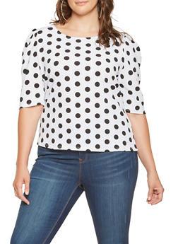 Plus Size Polka Dot Blouse - WHT-BLK - 0912074287147