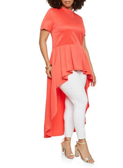 Plus Size Pleated High Low Top - 0912074287148