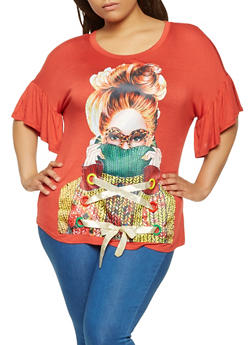 Plus Size Lace Up Graphic Tunic Top - 0912074287201