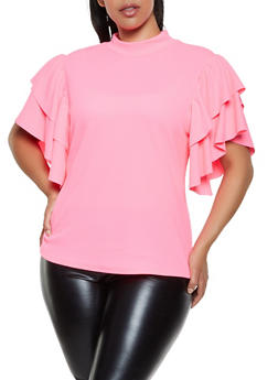 Plus Size Tiered Sleeve Textured Knit Top - 0912074288029
