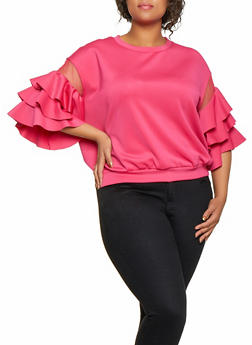 Plus Size Mesh Insert Tiered Sleeve Top - 0912074288410