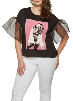 Plus Size Bell Sleeve Graphic Tee - 0912074288510